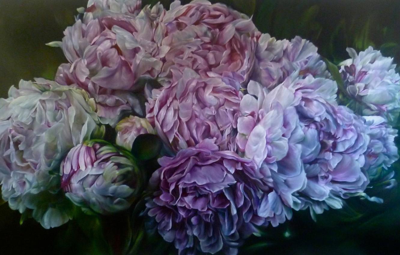 Фото обои цветы, арт, пионы, Marcella Kaspar