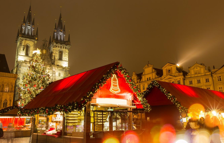 Фото обои украшения, city, город, lights, улица, игрушки, елка, Новый Год, Прага, Чехия, Рождество, домик, Christmas, design, …