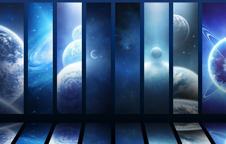 Фото обои космос, звезды, Планеты, вселенные