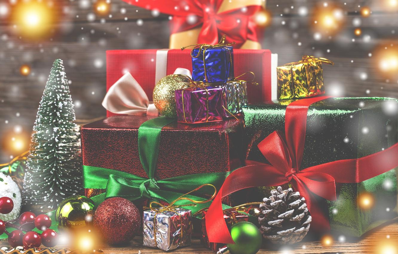 Фото обои праздник, игрушки, новый год, ель, подарки, украшение, банты