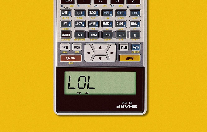 Фото обои Art, Wallpaper, Yellow, Minimalism, Humor, Calculator, Matt Chase, SHARP EL-738