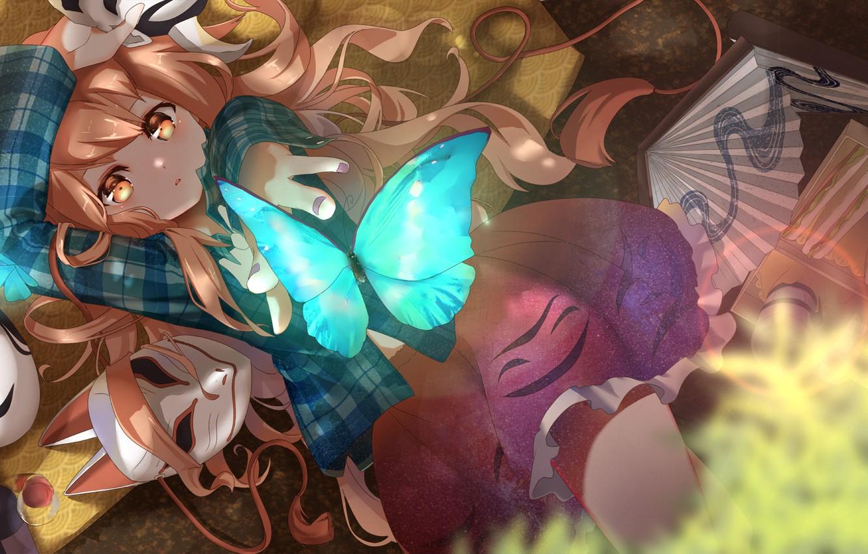 Фото обои девушка, бабочка, аниме, веер, маски, touhou, hata no kokoro, rukousou no hana