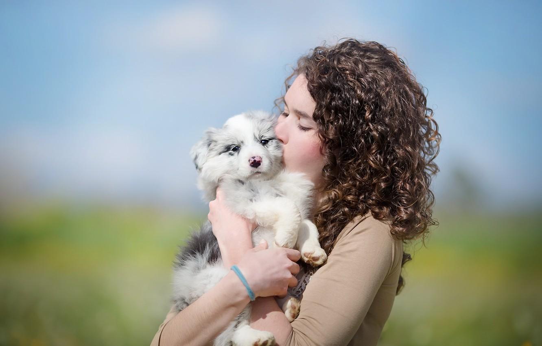 Фото обои девушка, настроение, собака, щенок