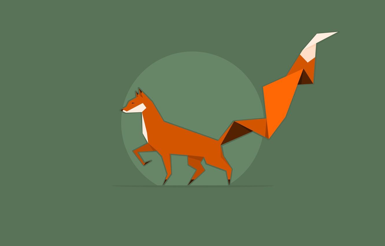 Фото обои фон, green, круг, рыжий, лиса, Fox, оригами, orange, хвост оригами
