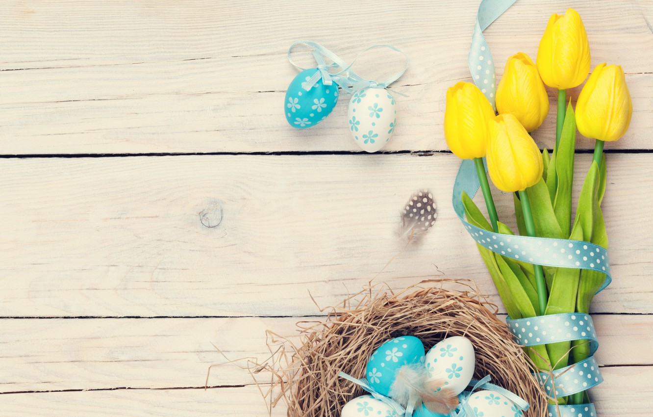 Фото обои colorful, Пасха, тюльпаны, tulips, spring, eggs, Happy Easter, Easter eggs