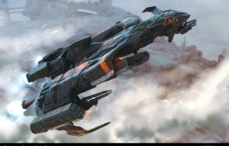 Фото обои оружие, транспорт, корабль, аппарат, The Earthmen Xterrian fighter ship