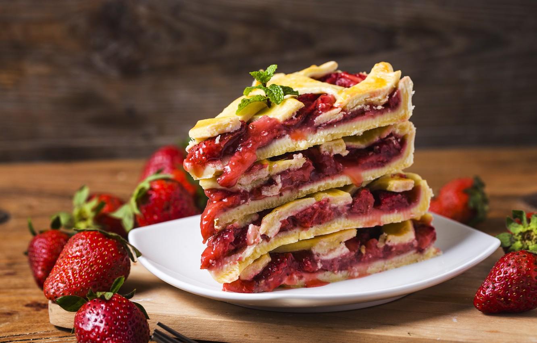 Фото обои ягоды, клубника, пирог, fresh, cake, sweet, strawberry, berries