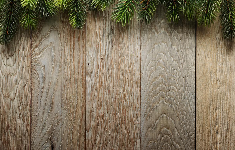 Фото обои ветки, фон, доски, елка, Christmas, wood, background, еловые