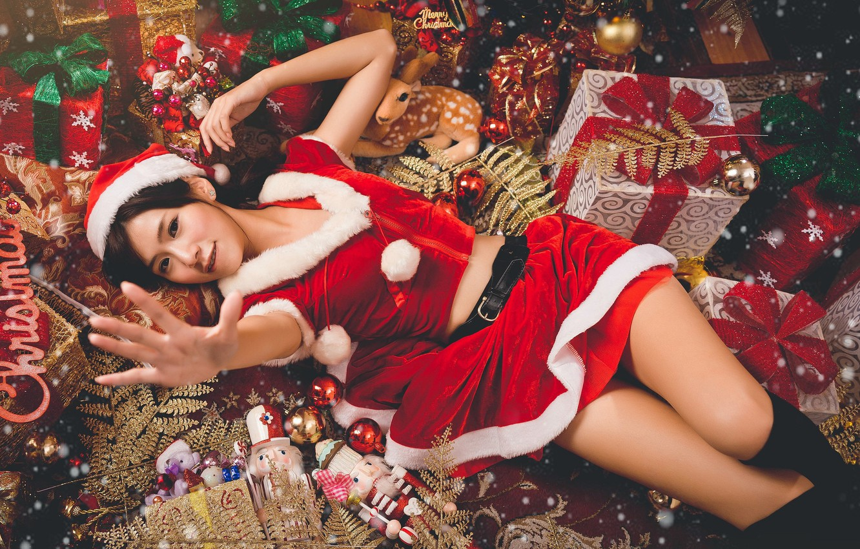 Обои подарки, азиатка. Праздники foto 7