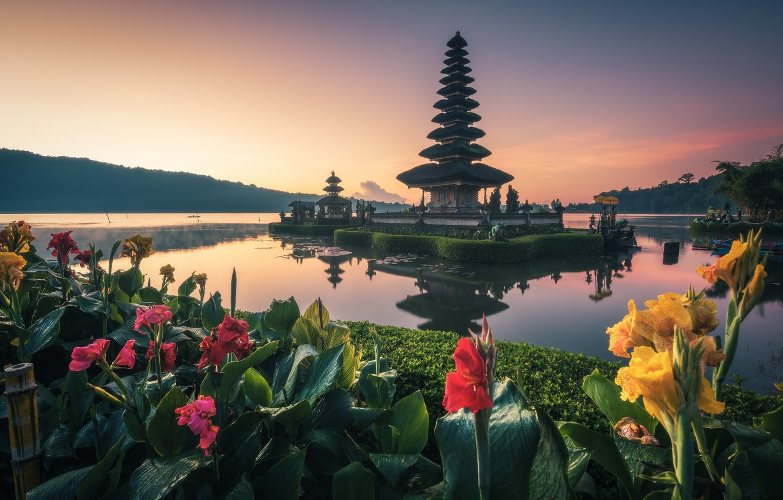 Фото обои вода, цветы, Бали, храм, канна