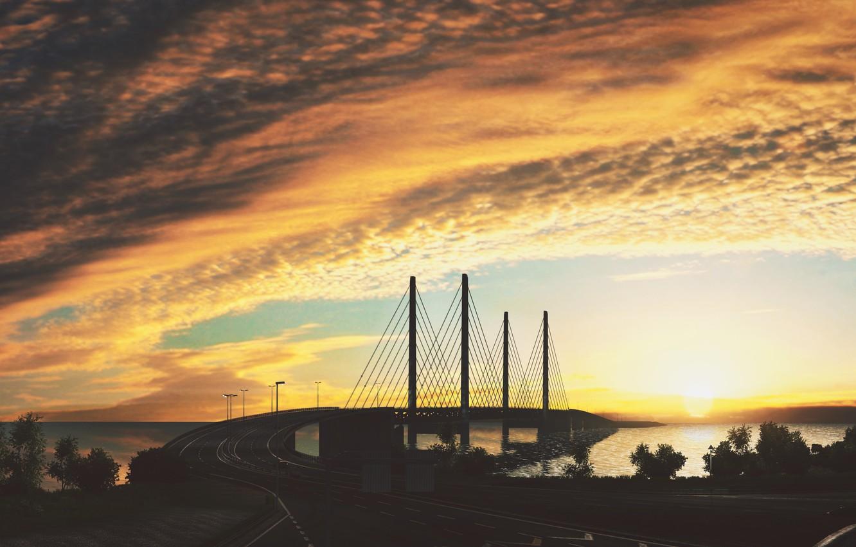 Фото обои Мост, Euro, Truck, Simulator 2