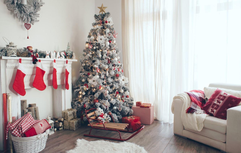 Фото обои праздник, елка, Новый год, камин, New Year