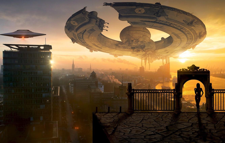 Фото обои крыша, небо, мечта, девушка, солнце, облака, свет, полет, город, поза, туман, будущее, рендеринг, фантазия, фантастика, …