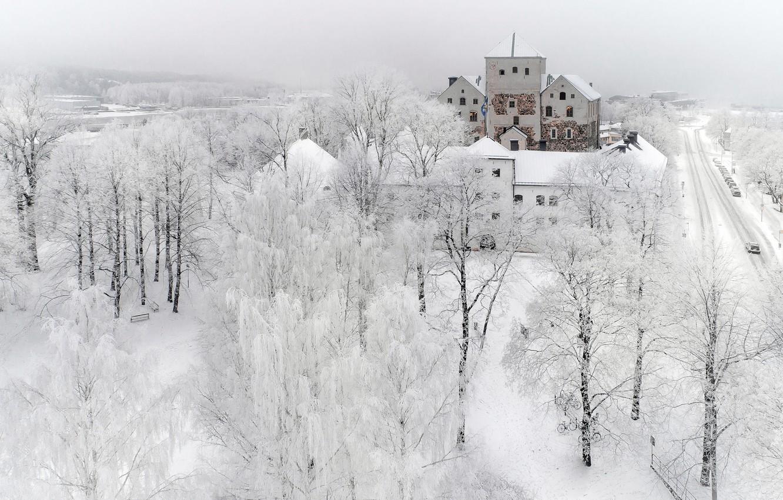 Фото обои зима, снег, город, turku
