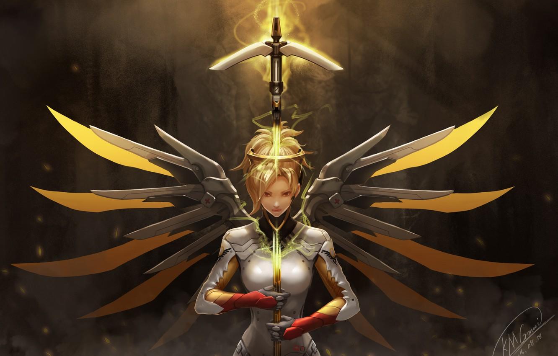 Фото обои девушка, оружие, крылья, overwatch, mercy, kmgmai