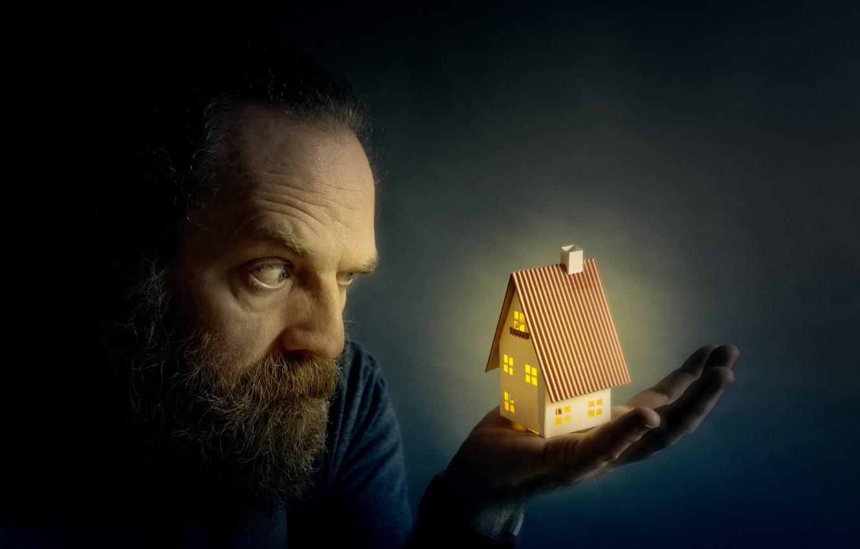 Фото обои дом, человек, ладонь