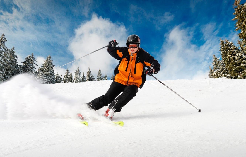 Обои лыжник, спуск, склон. Спорт foto 16