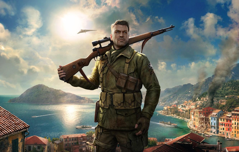 Фото обои Снайпер, Game, Sniper Elite 4