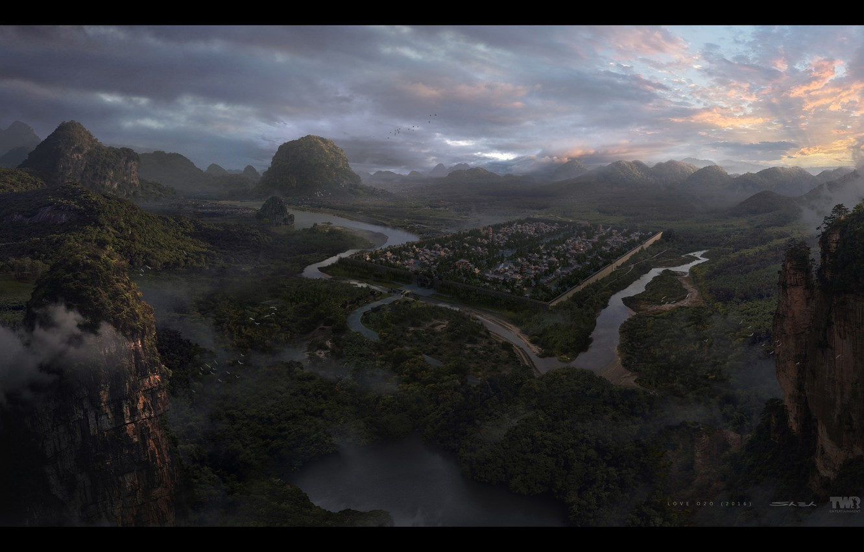 Фото обои горы, река, поселение, Love O2O Jinling City