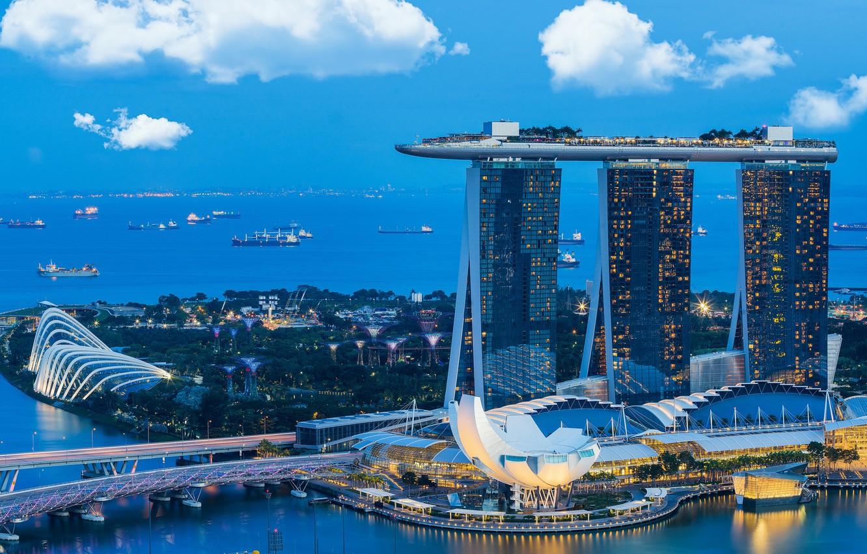Обои lights, небоскребы, архитектура, blue, Fountains. Города foto 14