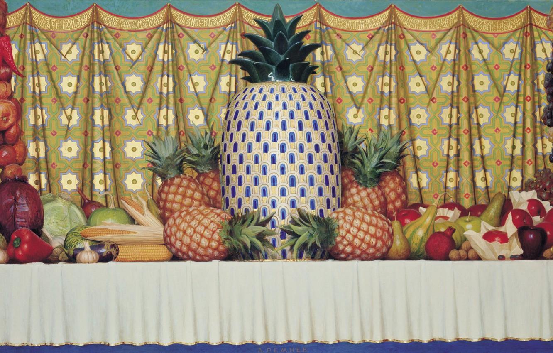 Фото обои лимон, яблоки, кукуруза, лук, виноград, баклажан, тыква, натюрморт, груши, капуста, гранат, чеснок, грецкий орех, 1997, …