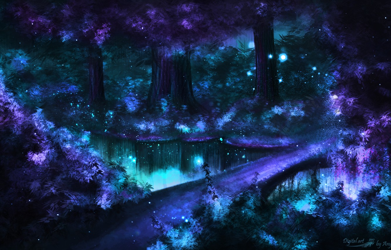 Фото обои дорога, лес, деревья, природа, озеро, блики, светлячки, фантастика, арт, кусты, ночная природа, мерцани, фантастический лес, …