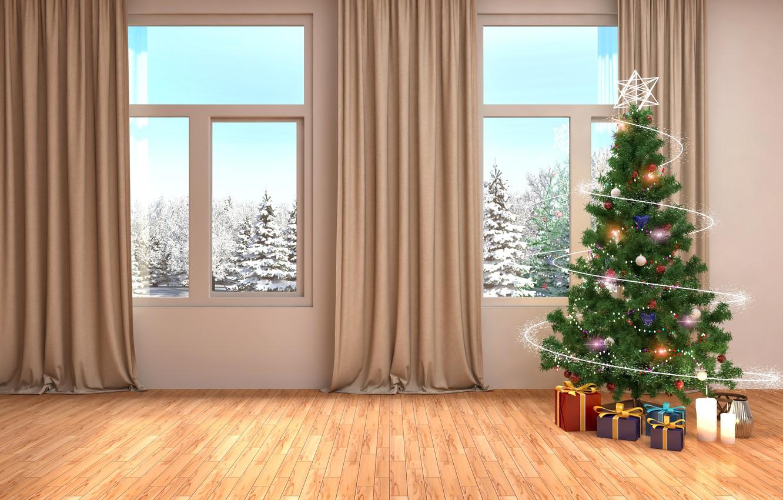 Фото обои зима, елка, интерьер, окно, Новый год