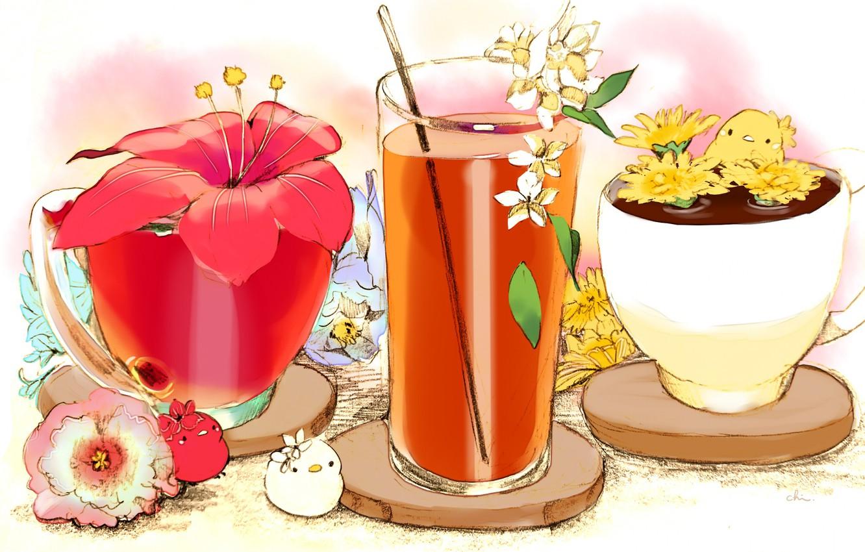 Фото обои цветок, красный, стакан, сок, существа, чашки, напиток, птенцы, соломинка, подставки