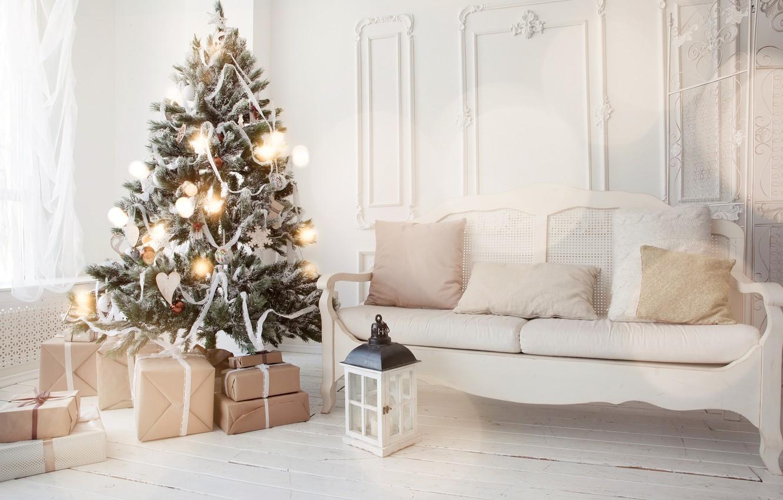 Фото обои украшения, игрушки, елка, Новый Год, Рождество, подарки, white, Christmas, design, Merry Christmas, Xmas, interior, home, …