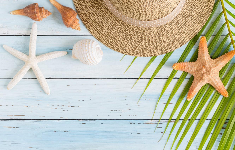 Фото обои пляж, лето, отдых, звезда, отпуск, шляпа, ракушки, summer, happy, beach, sand, vacation, starfish, seashells