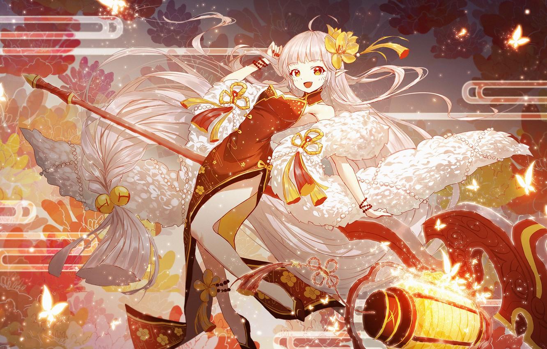 Фото обои девушка, аниме, арт, Onmyouji