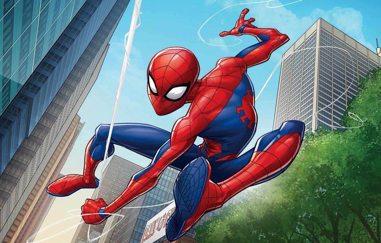 Фото обои Город, Паутина, Костюм, Здания, City, Герой, Маска, Супергерой, Hero, Web, Marvel, Человек-паук, Патрик Браун, Comics, …
