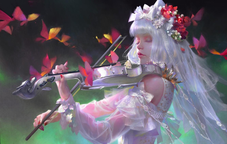 Фото обои девушка, музыка, скрипка, белое платье, кружево