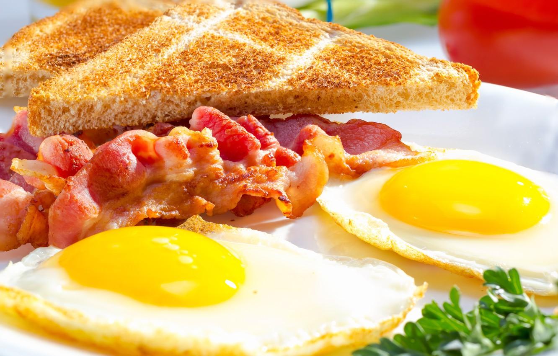 Фото обои завтрак, яичница, бекон, тосты, breakfast