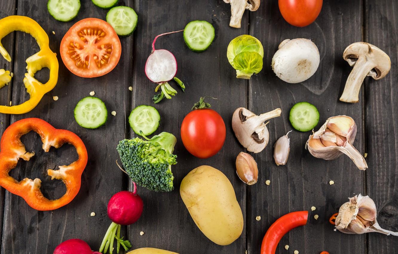 Обои помидоры, овощи, чеснок, брокколи, салат, Перец. Еда foto 11