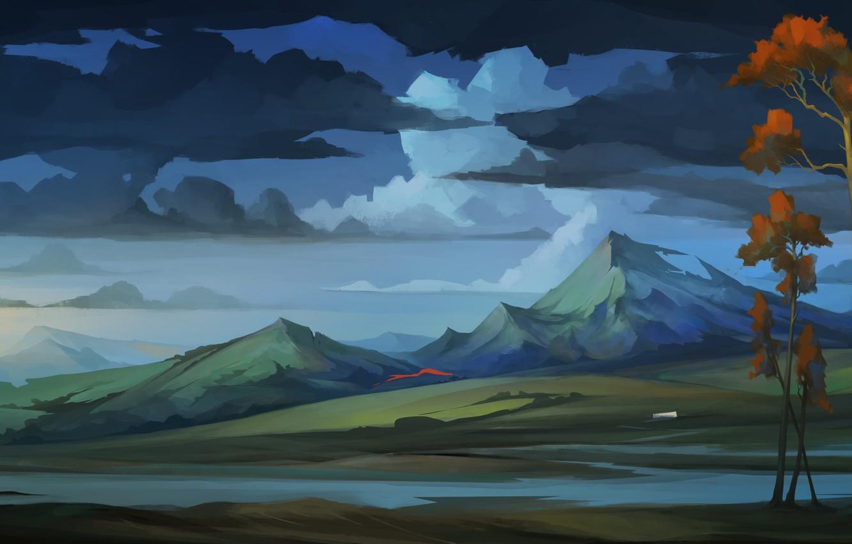 Фото обои небо, облака, деревья, пейзаж, горы, арт, The Banner Saga