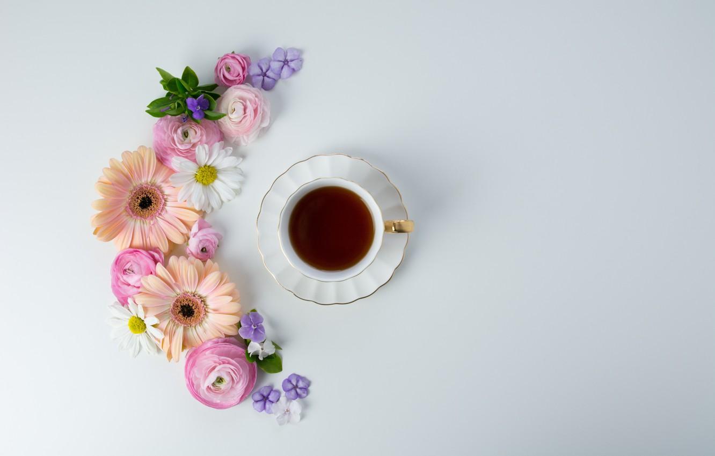 Фото обои цветы, кофе, чашка, pink, flowers, cup, coffee, tender