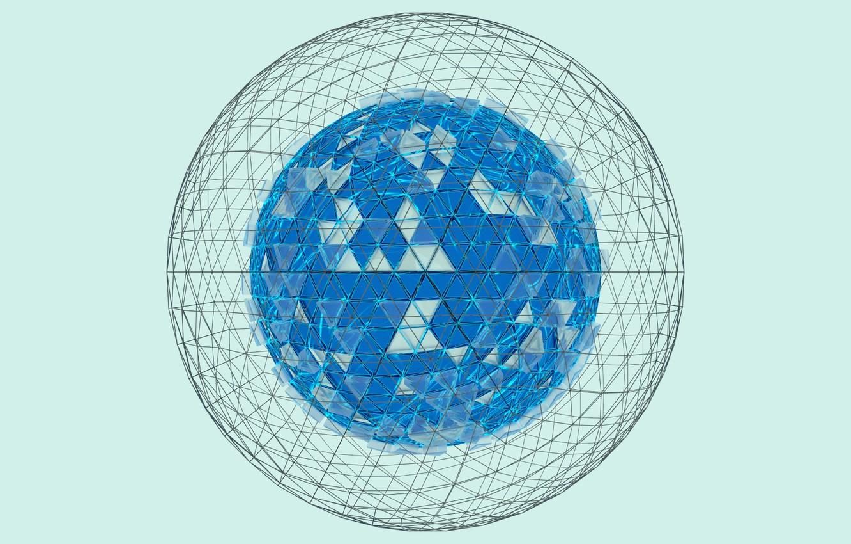 Фото обои белый, свет, голубой, light, white, сфера, blue, render, рендер, блендер, sphere, wireframe, blender3d
