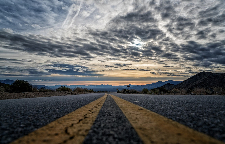 Фото обои дорога, даль, вечер