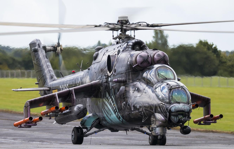 Фото обои Helicopter, Ми-24, Czech, Hind, ВВС Чехии, Mi-24V35, Czech Air Force