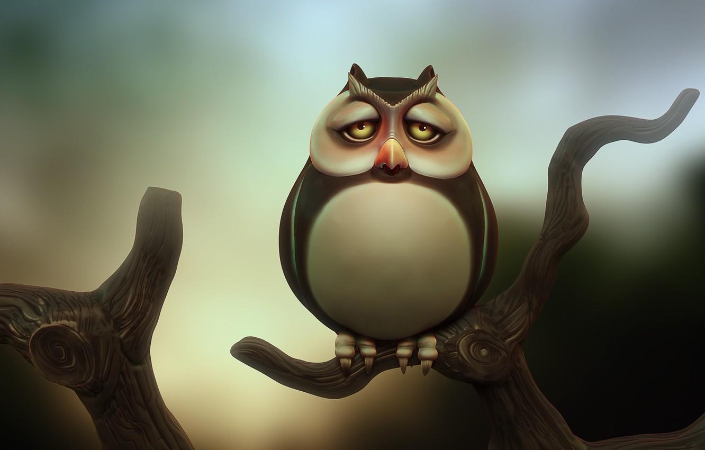 Фото обои сова, ветка, арт, owl, Michal Kwolek