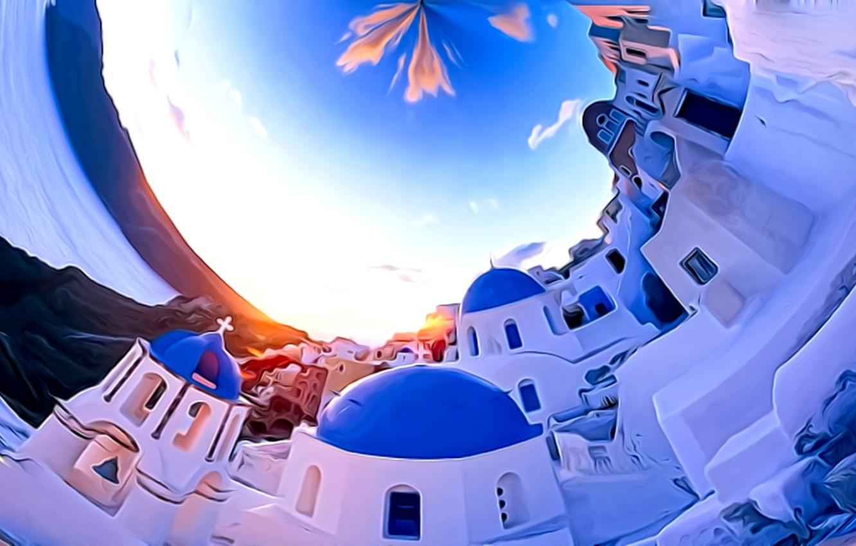 Фото обои море, небо, облака, город, рендеринг, фантазия, белое, голубое, остров, Санторини, картинка, замкнутое пространство