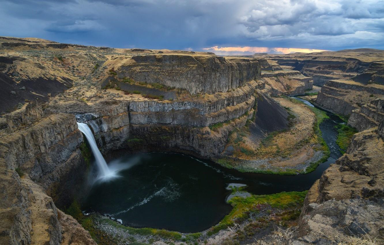 Фото обои скала, водопад, поток воды