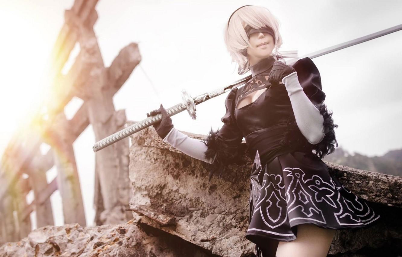 Фото обои поза, повязка, мечь, cosplay, Nier Automata, Yorha No.2