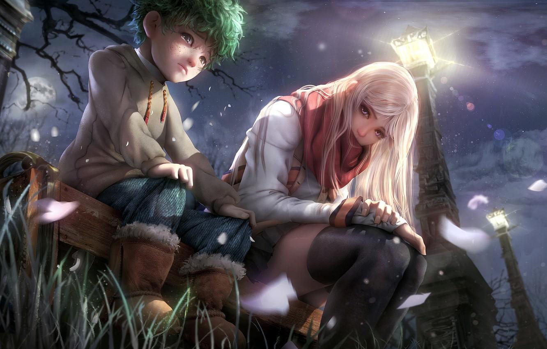 Фото обои девушка, ночь, мальчик, арт, фонарь, ребёнок
