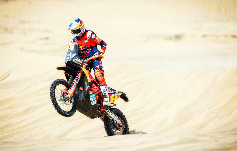 Фото обои Песок, Спорт, Скорость, Мотоцикл, Гонщик, Мото, KTM, Bike, Rally, Dakar, Дакар, Ралли, Motorbike
