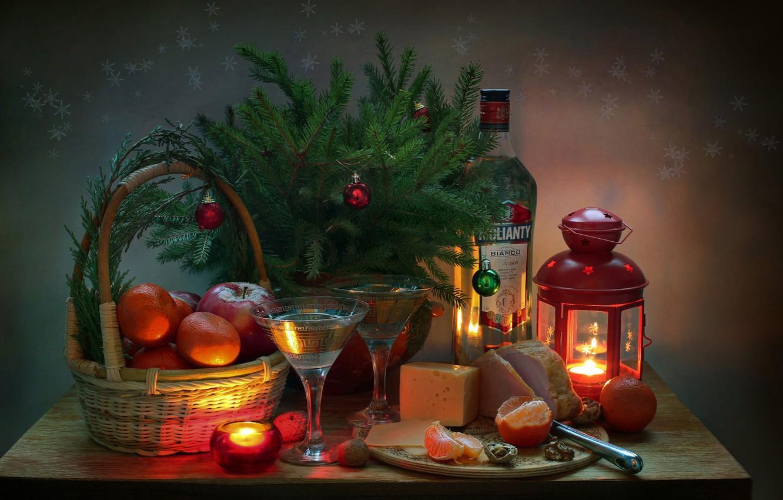 Фото обои праздник, ель, Натюрморт, мартини, мандарины, окорок