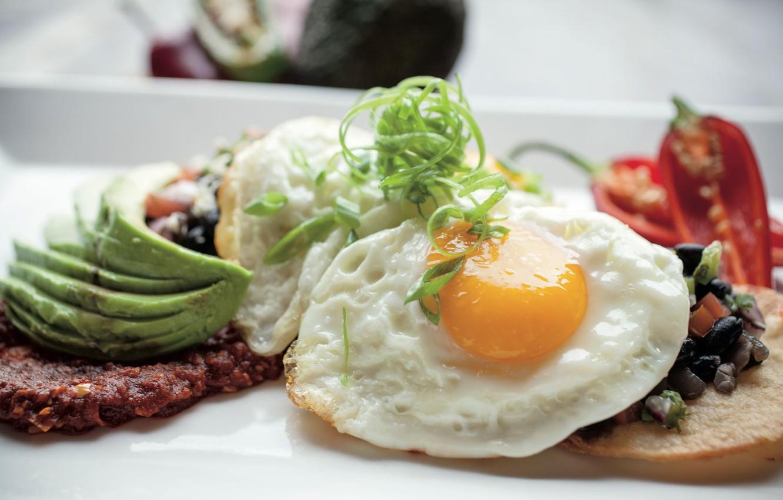 Фото обои яичница, специи, авокадо