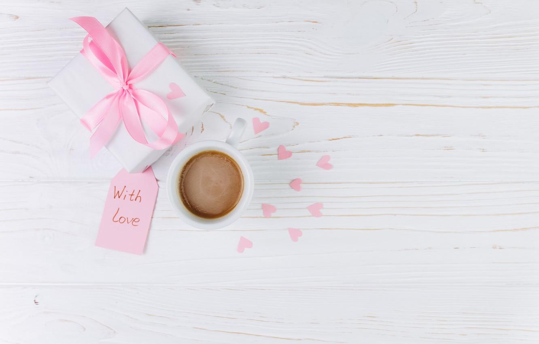 Фото обои любовь, подарок, чашка, сердечки, love, heart, pink, cup, romantic, gift, coffee, with love, tender