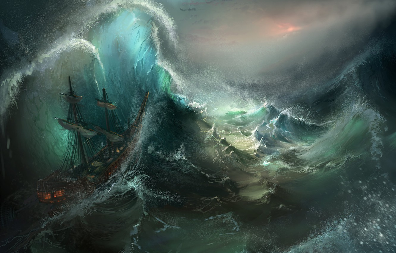 Фото обои море, волны, шторм, корабль, арт, Tysen Johnson, Stormy Seas